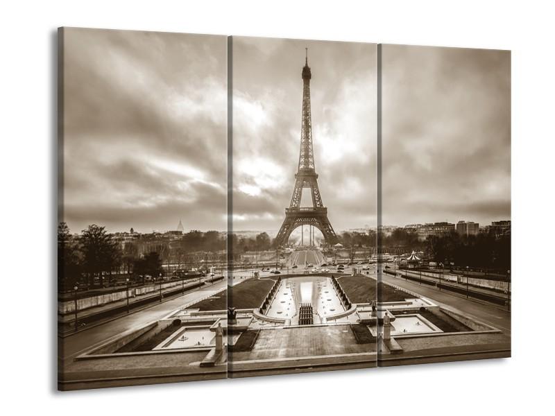 Canvas Schilderij Parijs, Eiffeltoren | Sepia | 60x90cm 3Luik