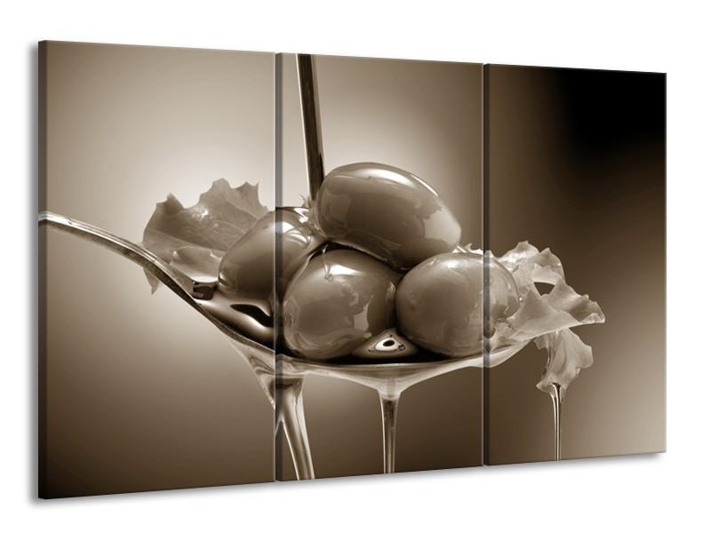 Canvas Schilderij Olijven, Keuken | Sepia | 165x100cm 3Luik