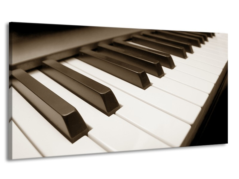 Canvas Schilderij Muziek, Piano | Sepia | 170x90cm 1Luik