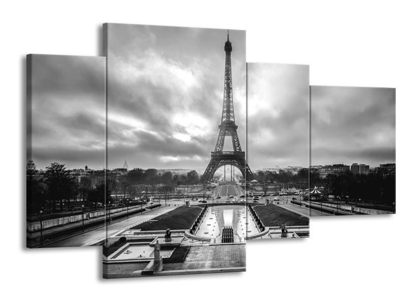 Glasschilderij Parijs, Eiffeltoren | Zwart, Wit, Grijs | 120x75cm 4Luik