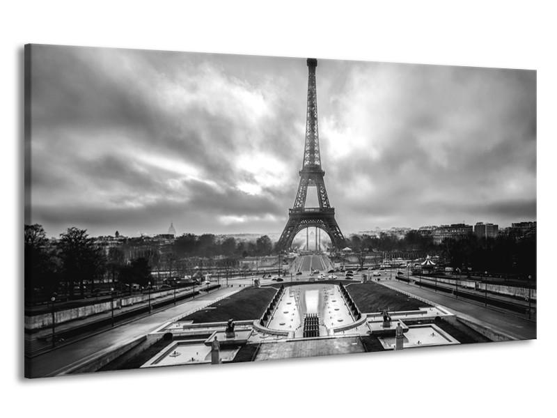 Canvas Schilderij Parijs, Eiffeltoren | Zwart, Wit, Grijs | 190x100cm 1Luik