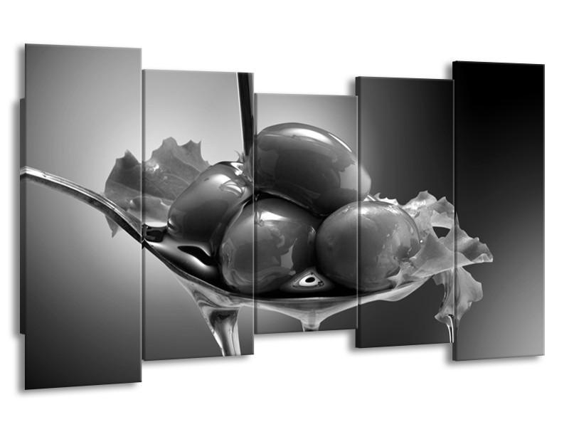 Canvas Schilderij Olijven, Keuken | Zwart, Grijs | 150x80cm 5Luik