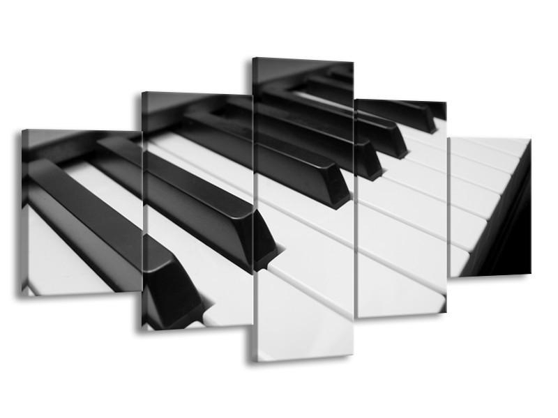 Canvas Schilderij Muziek, Piano | Zwart, Grijs, Wit | 150x80cm 5Luik