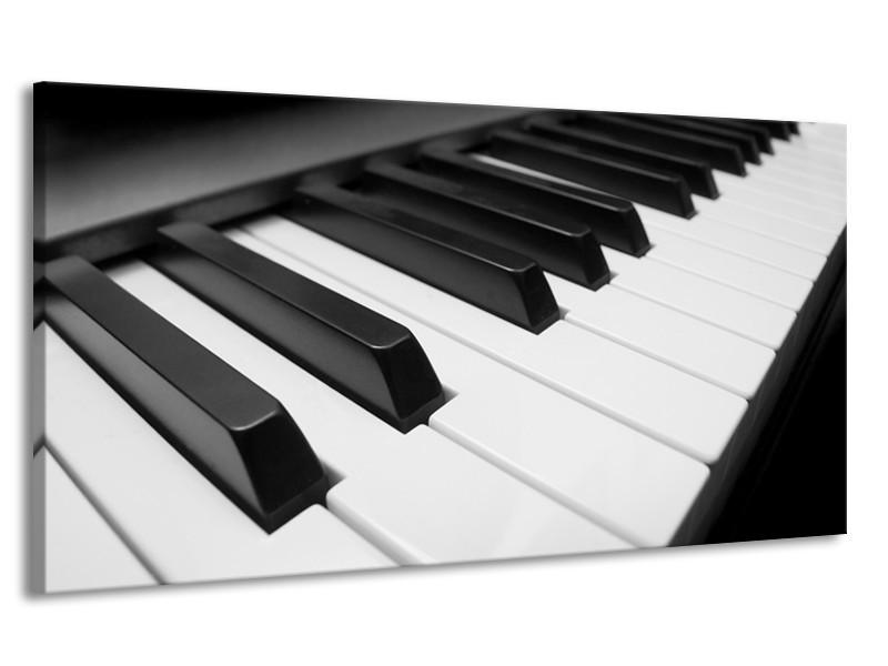 Canvas Schilderij Muziek, Piano | Zwart, Grijs, Wit | 170x90cm 1Luik