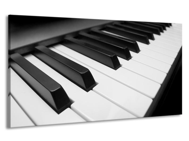 Canvas Schilderij Muziek, Piano | Zwart, Grijs, Wit | 190x100cm 1Luik