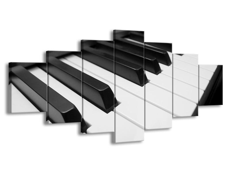 Glasschilderij Muziek, Piano   Zwart, Grijs, Wit   210x100cm 7Luik