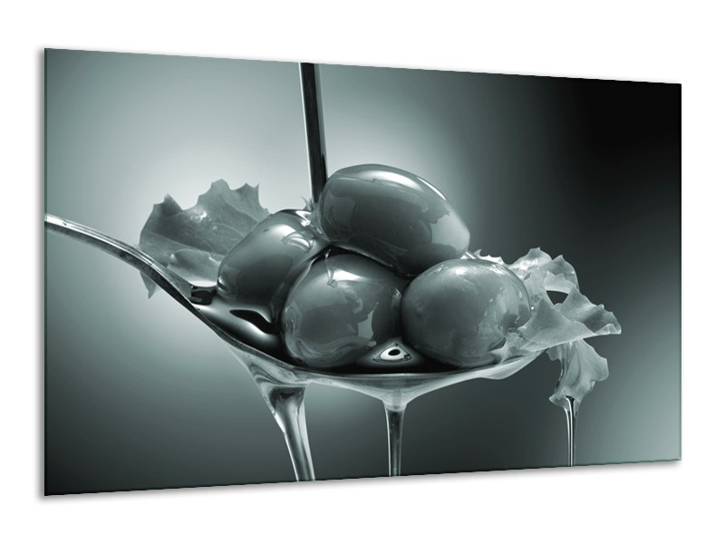 Canvas Schilderij Olijven, Keuken | Grijs, Groen | 120x70cm 1Luik