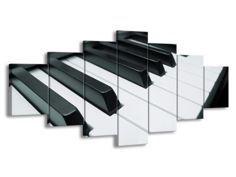 Glasschilderij Muziek, Piano   Grijs, Groen, Zwart   210x100cm 7Luik