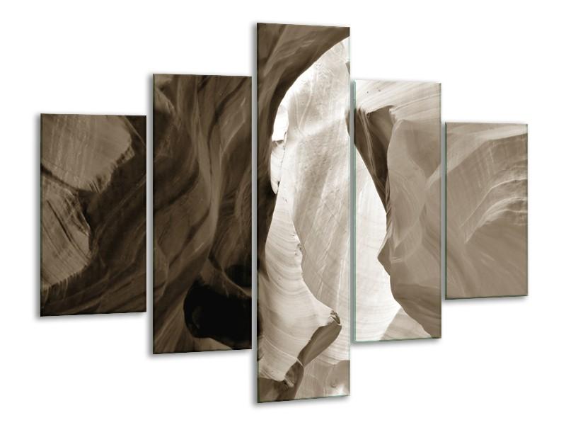 Canvas Schilderij Zand | Sepia | 100x70cm 5Luik