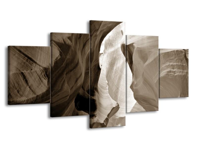 Canvas Schilderij Zand | Sepia | 150x80cm 5Luik