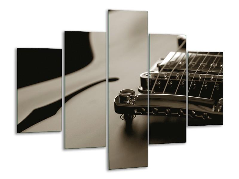 Glasschilderij Muziek   Sepia   100x70cm 5Luik