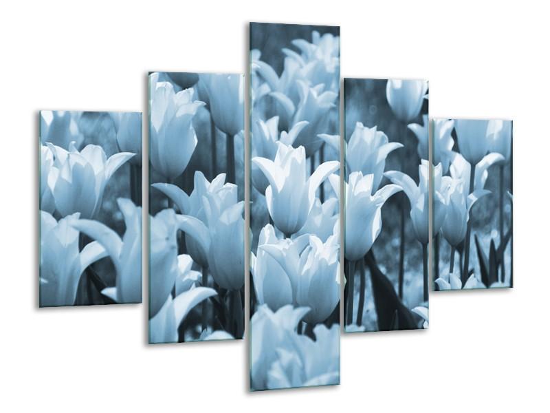 Canvas Schilderij Tulpen, Bloemen   Blauw, Grijs   100x70cm 5Luik