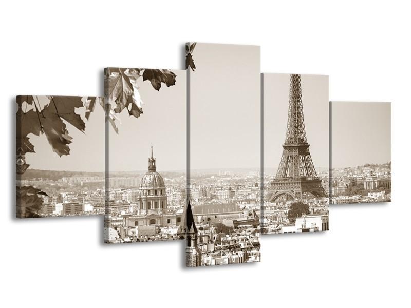 Canvas Schilderij Parijs, Steden | Sepia | 150x80cm 5Luik