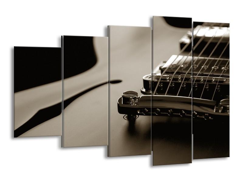 Canvas Schilderij Muziek | Sepia | 150x100cm 5Luik