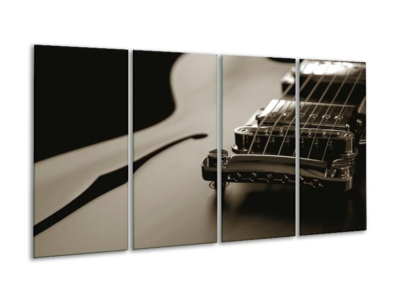 Canvas Schilderij Muziek | Sepia | 160x80cm 4Luik