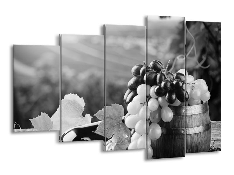 Canvas Schilderij Druiven, Keuken | Zwart, Grijs | 150x100cm 5Luik