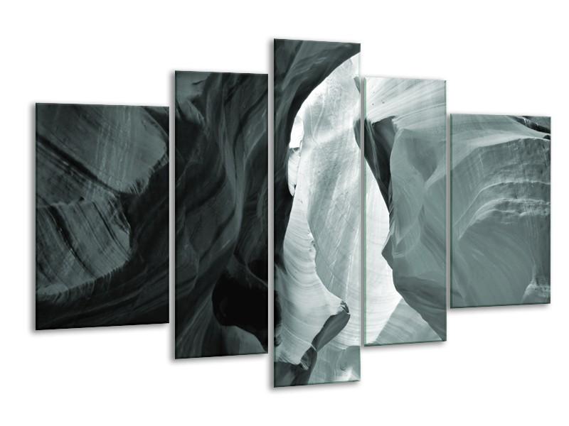 Canvas Schilderij Zand | Grijs, Groen | 170x100cm 5Luik