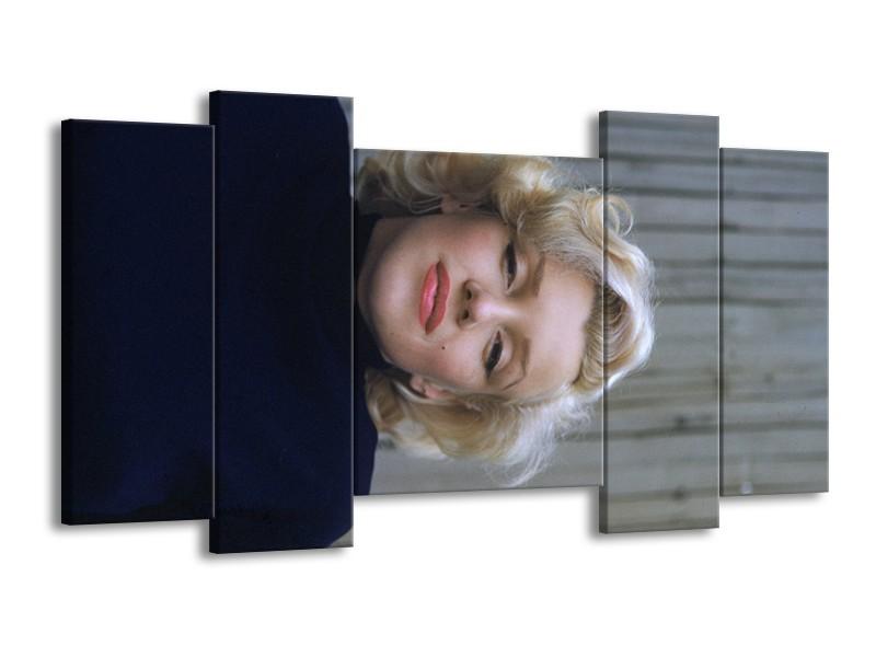 Glasschilderij Marilyn Monroe   Zwart, Crème , Grijs   120x65cm 5Luik