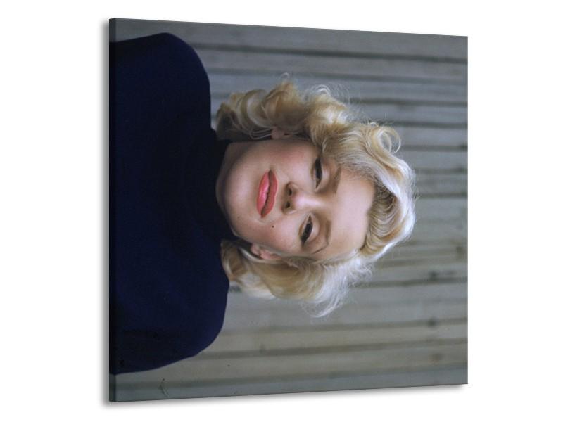 Canvas Schilderij Marilyn Monroe   Zwart, Crème, Grijs   70x70cm 1Luik
