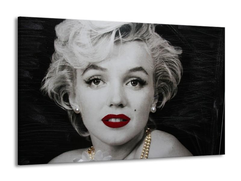 Canvas Schilderij Marilyn Monroe | Zwart, Wit, Grijs | 140x90cm 1Luik