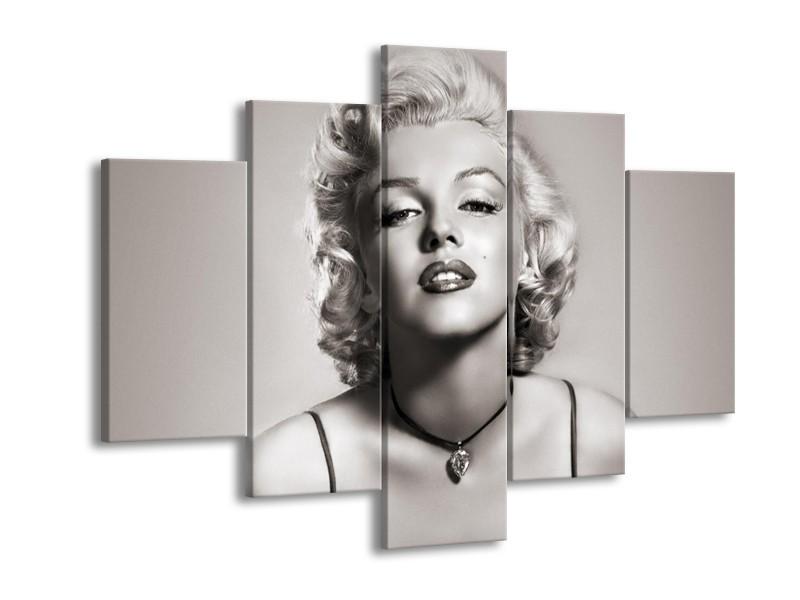 Canvas Schilderij Marilyn Monroe   Grijs, Sepia   150x105cm 5Luik