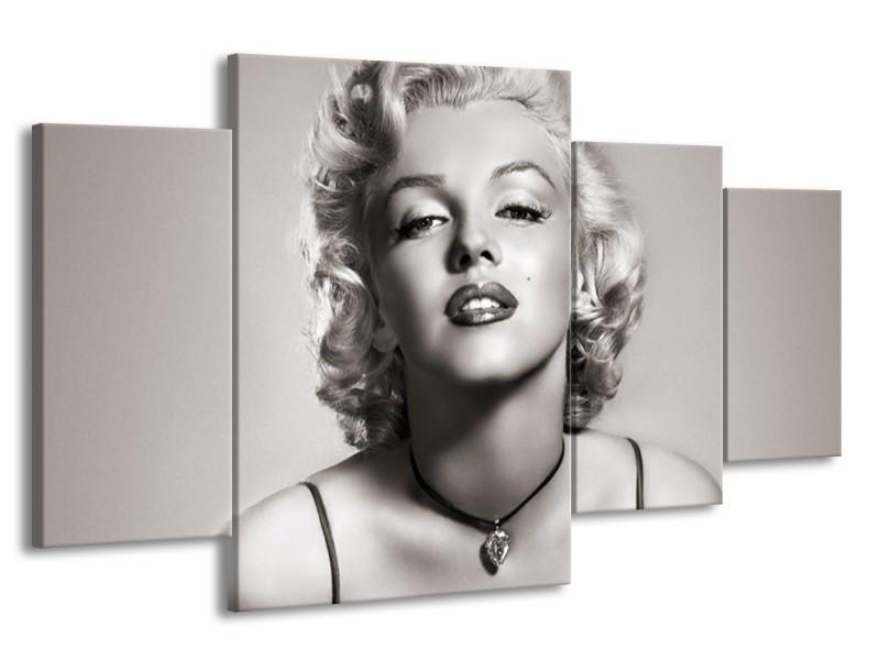 Glasschilderij Marilyn Monroe   Grijs, Sepia   160x90cm 4Luik