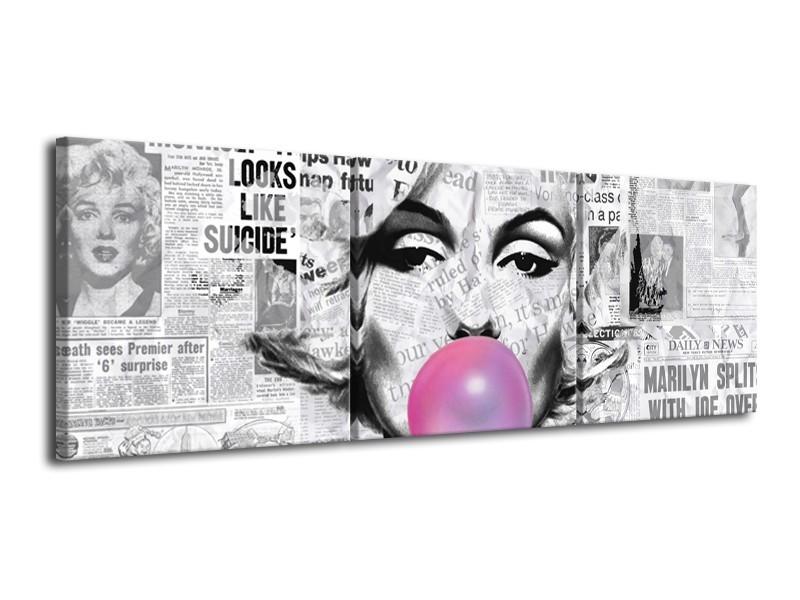 Canvas Schilderij Marilyn Monroe   Zwart, Grijs, Paars   120x40cm 3Luik