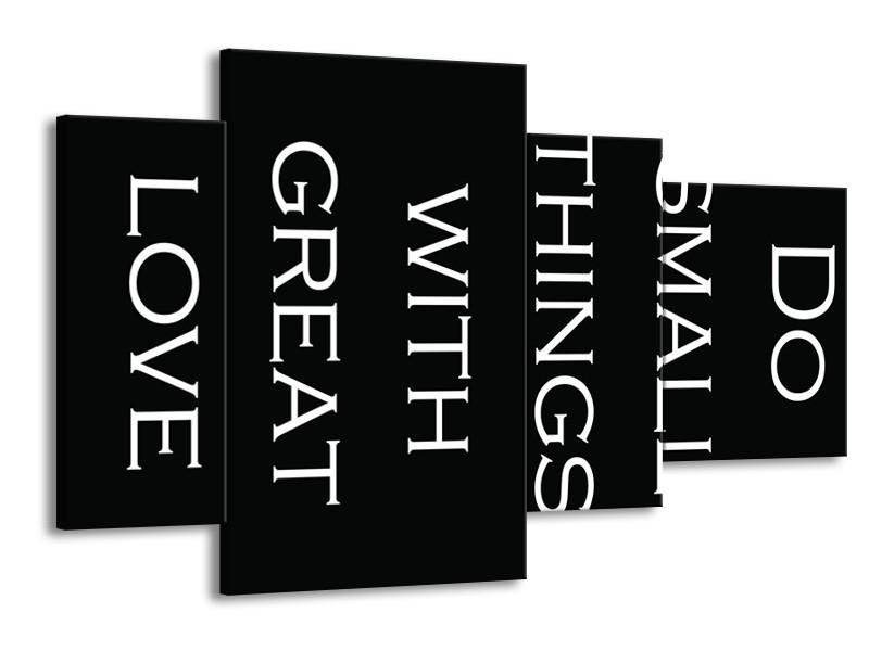 Glasschilderij Tekst   Zwart, Wit   120x75cm 4Luik