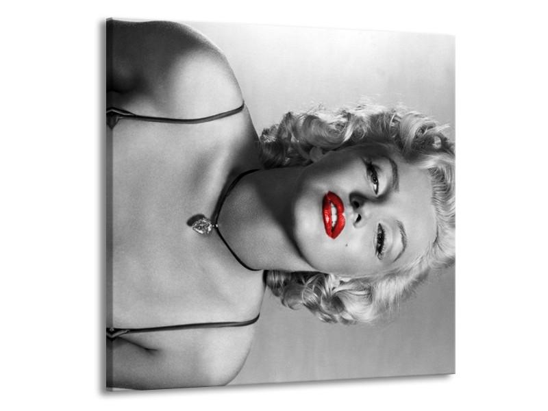 Canvas Schilderij Marilyn Monroe   Zwart, Wit, Rood   50x50cm 1Luik