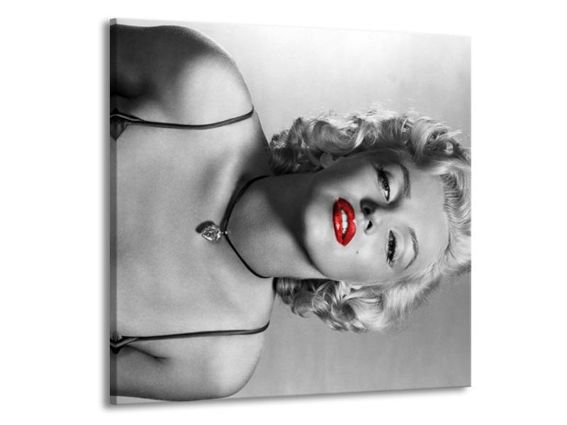 Canvas Schilderij Marilyn Monroe   Zwart, Wit, Rood   70x70cm 1Luik