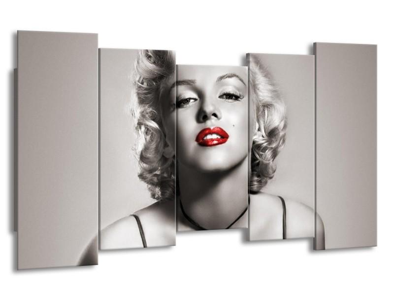 Canvas Schilderij Marilyn Monroe   Sepia, Rood, Grijs   150x80cm 5Luik