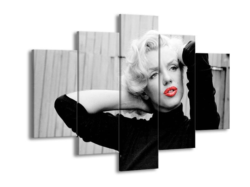 Canvas Schilderij Marilyn Monroe | Zwart, Wit, Rood | 150x105cm 5Luik