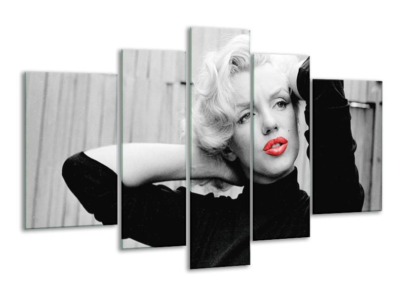 Glasschilderij Marilyn Monroe | Zwart, Wit, Rood | 170x100cm 5Luik