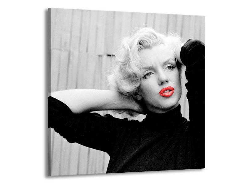 Canvas Schilderij Marilyn Monroe | Zwart, Wit, Rood | 70x70cm 1Luik