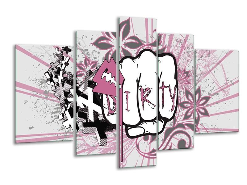 Canvas Schilderij Popart | Paars, Roze, Grijs | 170x100cm 5Luik