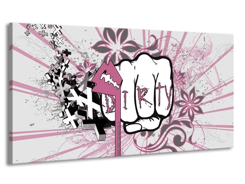 Canvas Schilderij Popart | Paars, Roze, Grijs | 170x90cm 1Luik