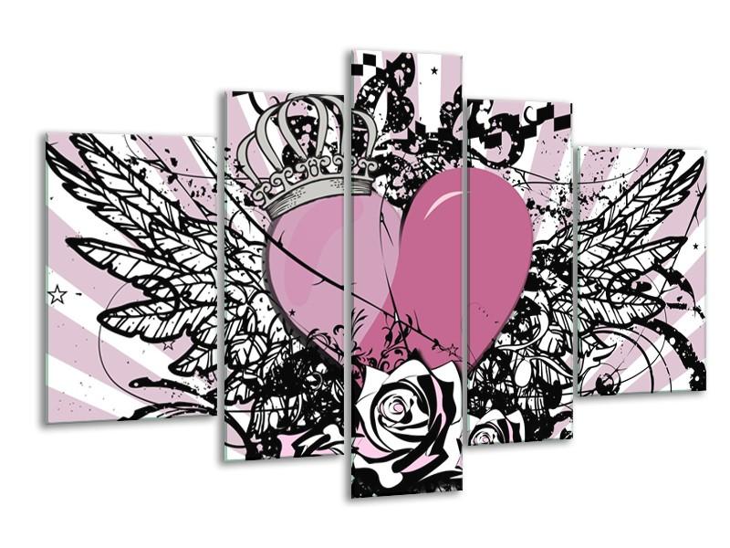 Canvas Schilderij Popart, Hart | Paars, Roze, Grijs | 170x100cm 5Luik