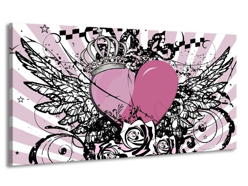 Canvas Schilderij Popart, Hart | Paars, Roze, Grijs | 170x90cm 1Luik