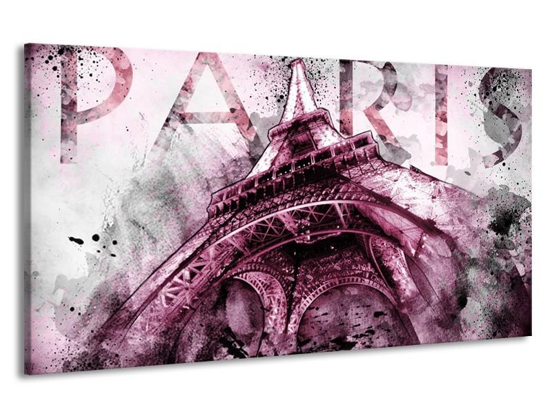 Canvas Schilderij Parijs, Eiffeltoren | Paars, Roze, Grijs | 190x100cm 1Luik