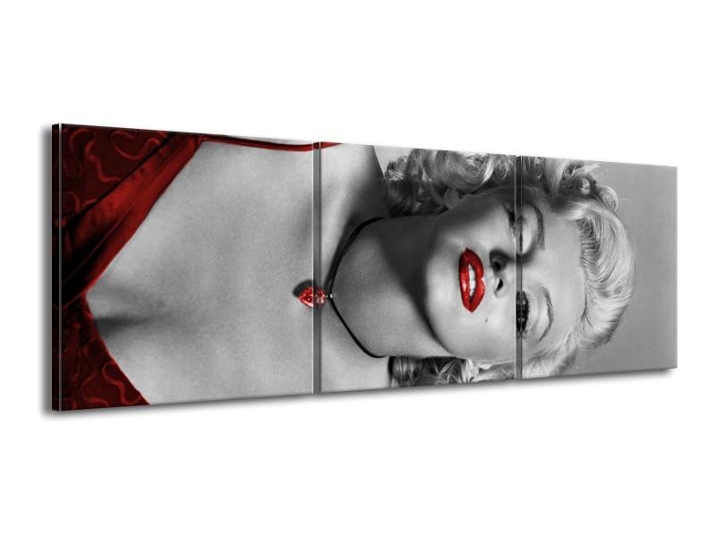 Canvas Schilderij Marilyn Monroe | Grijs, Zwart, Rood | 150x50cm 3Luik