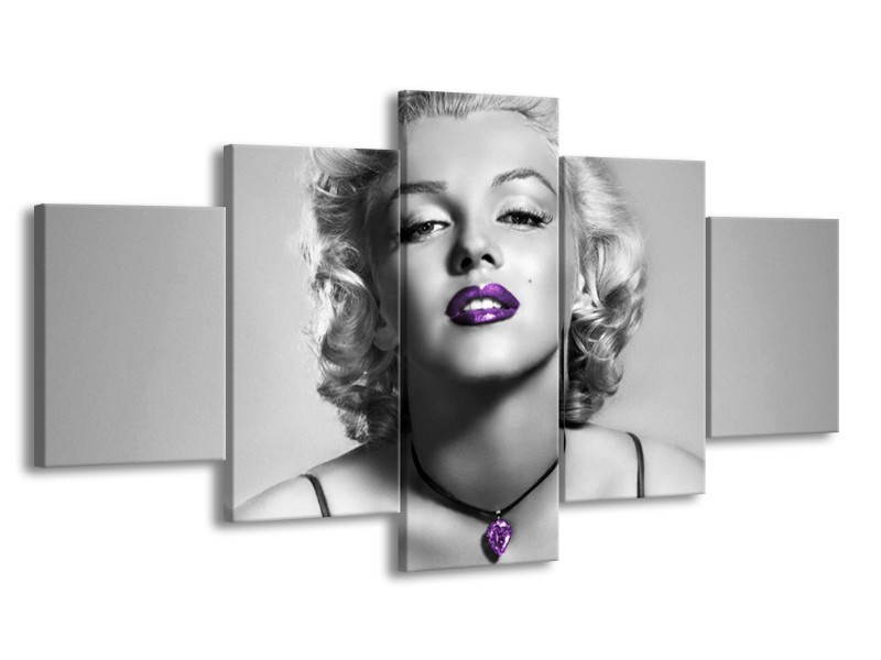 Canvas Schilderij Marilyn Monroe | Grijs, Zwart, Paars | 150x80cm 5Luik