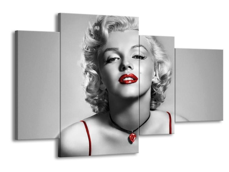 Canvas Schilderij Marilyn Monroe   Grijs, Rood, Zwart   120x75cm 4Luik