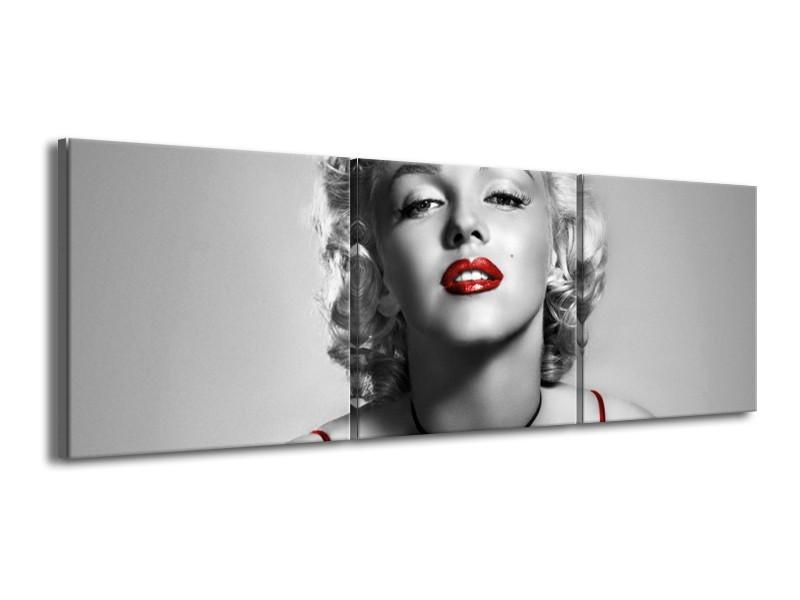 Canvas Schilderij Marilyn Monroe | Grijs, Rood, Zwart | 150x50cm 3Luik
