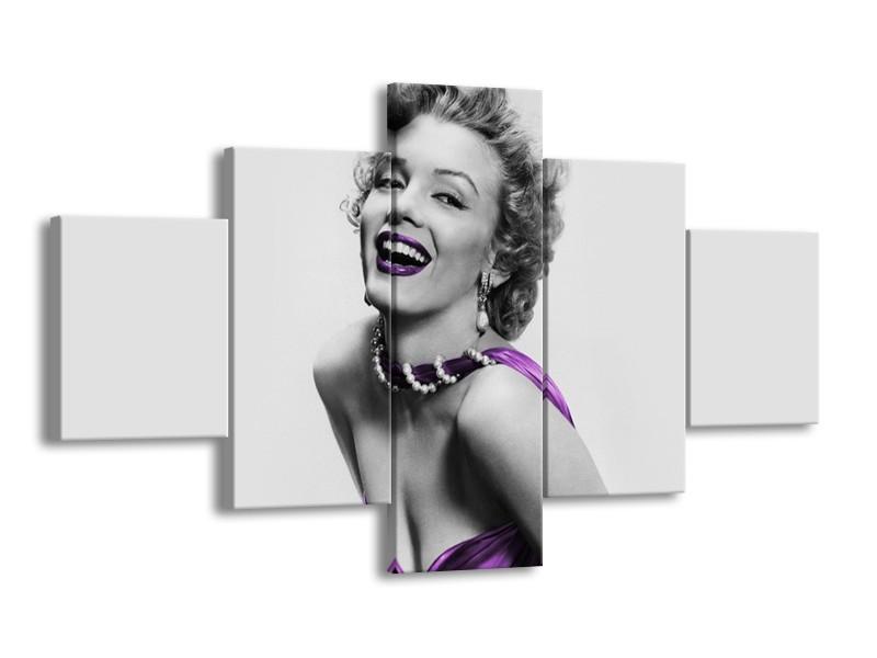 Canvas Schilderij Marilyn Monroe   Grijs, Paars, Zwart   125x70cm 5Luik
