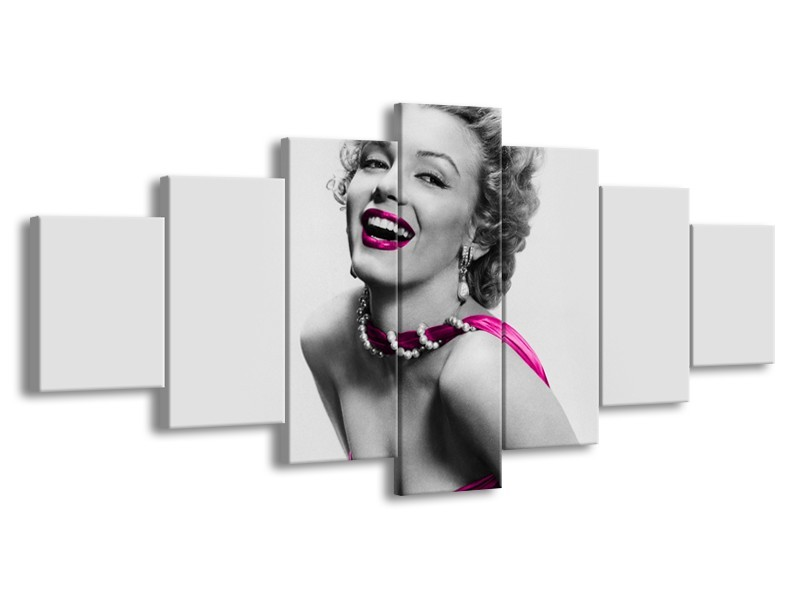Canvas Schilderij Marilyn Monroe | Grijs, Roze, Zwart | 210x100cm 7Luik