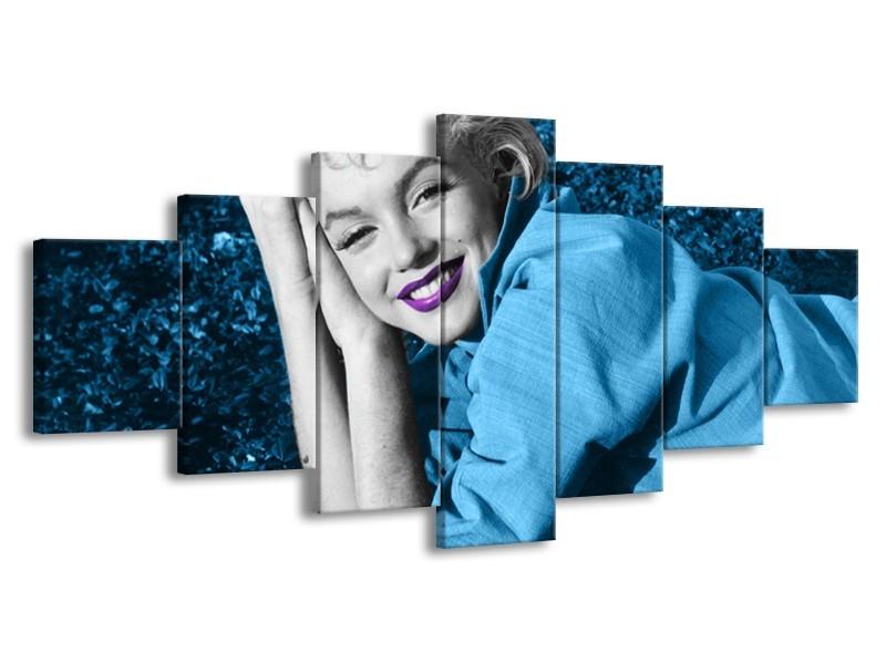 Glasschilderij Marilyn Monroe | Blauw, Paars, Grijs | 210x100cm 7Luik