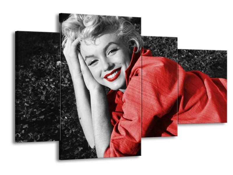 Canvas Schilderij Marilyn Monroe   Zwart, Rood, Grijs   120x75cm 4Luik