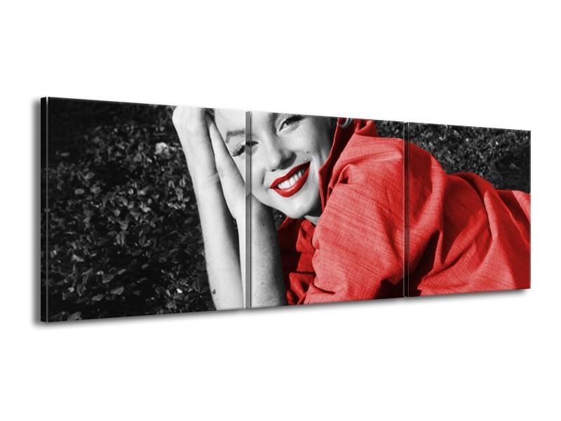 Canvas Schilderij Marilyn Monroe   Zwart, Rood, Grijs   150x50cm 3Luik