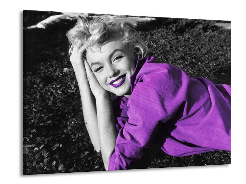 Glasschilderij Marilyn Monroe   Zwart, Grijs, Paars   100x70cm 1Luik