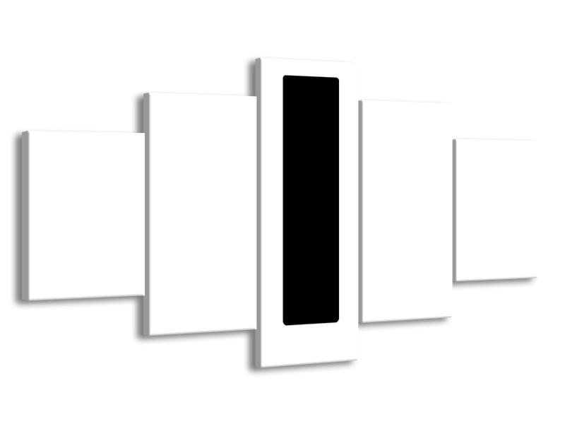 Glasschilderij Abstract | Wit, Zwart | 150x80cm 5Luik